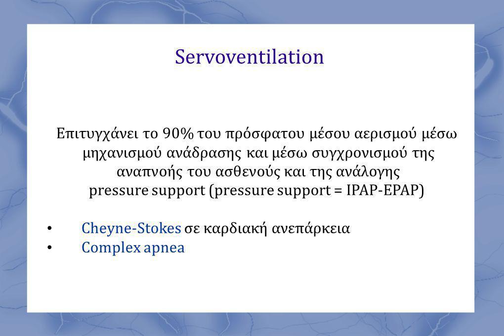 Servoventilation Επιτυγχάνει το 90% του πρόσφατου μέσου αερισμού μέσω μηχανισμού ανάδρασης και μέσω συγχρονισμού της αναπνοής του ασθενούς και της ανάλογης pressure support (pressure support = IPAP-EPAP) • Cheyne-Stokes σε καρδιακή ανεπάρκεια • Complex apnea
