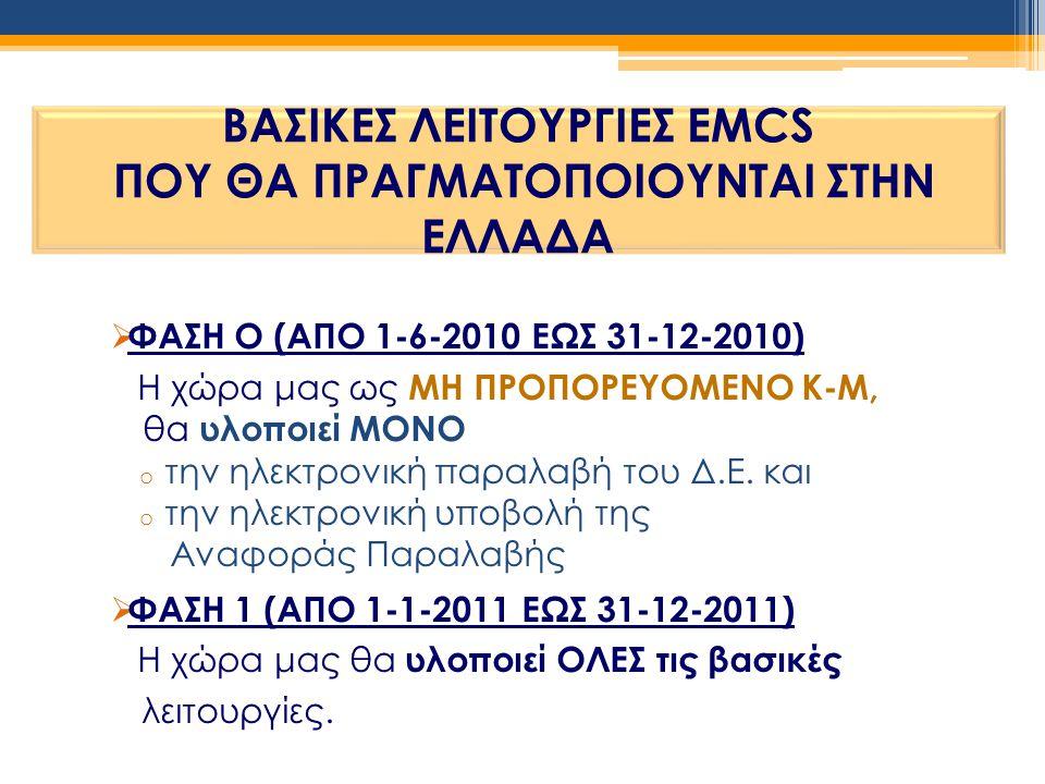  ΦΑΣΗ Ο (ΑΠΟ 1-6-2010 ΕΩΣ 31-12-2010) Η χώρα μας ως ΜΗ ΠΡΟΠΟΡΕΥΟΜΕΝΟ Κ-Μ, θα υλοποιεί ΜΟΝΟ o την ηλεκτρονική παραλαβή του Δ.Ε. και o την ηλεκτρονική