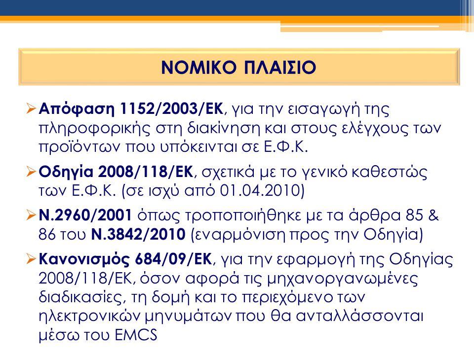 ΝΟΜΙΚΟ ΠΛΑΙΣΙΟ  Απόφαση 1152/2003/ΕΚ, για την εισαγωγή της πληροφορικής στη διακίνηση και στους ελέγχους των προϊόντων που υπόκεινται σε Ε.Φ.Κ.  Οδη