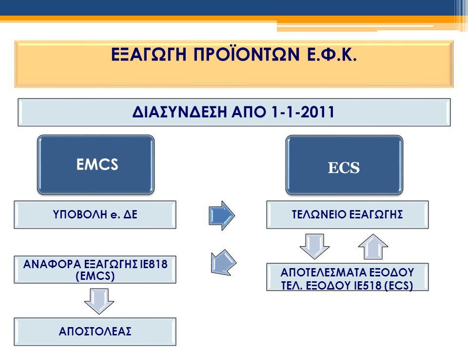 ΕΞΑΓΩΓΗ ΠΡΟΪΟΝΤΩΝ Ε.Φ.Κ. EMCS ECS ΔΙΑΣΥΝΔΕΣΗ ΑΠΟ 1-1-2011 ΥΠΟΒΟΛΗ e. ΔΕ ΤΕΛΩΝΕΙΟ ΕΞΑΓΩΓΗΣ ΑΝΑΦΟΡΑ ΕΞΑΓΩΓΗΣ ΙΕ818 (EMCS) ΑΠΟΤΕΛΕΣΜΑΤΑ ΕΞΟΔΟΥ ΤΕΛ. ΕΞΟΔΟ