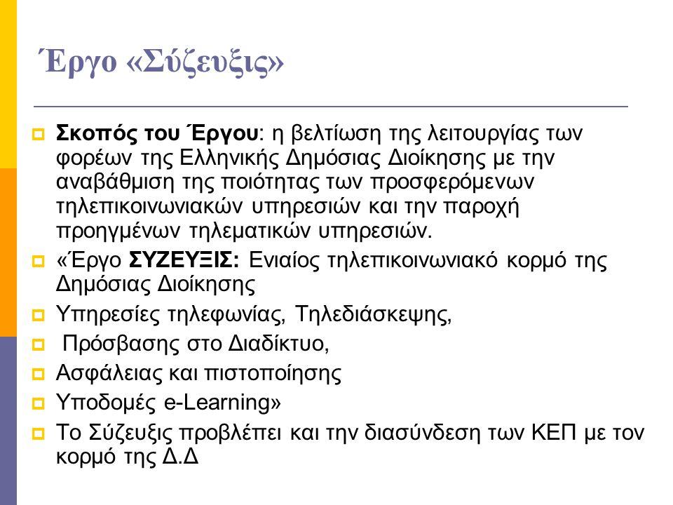 Έργο «Σύζευξις»  Σκοπός του Έργου: η βελτίωση της λειτουργίας των φορέων της Ελληνικής Δημόσιας Διοίκησης με την αναβάθμιση της ποιότητας των προσφερ