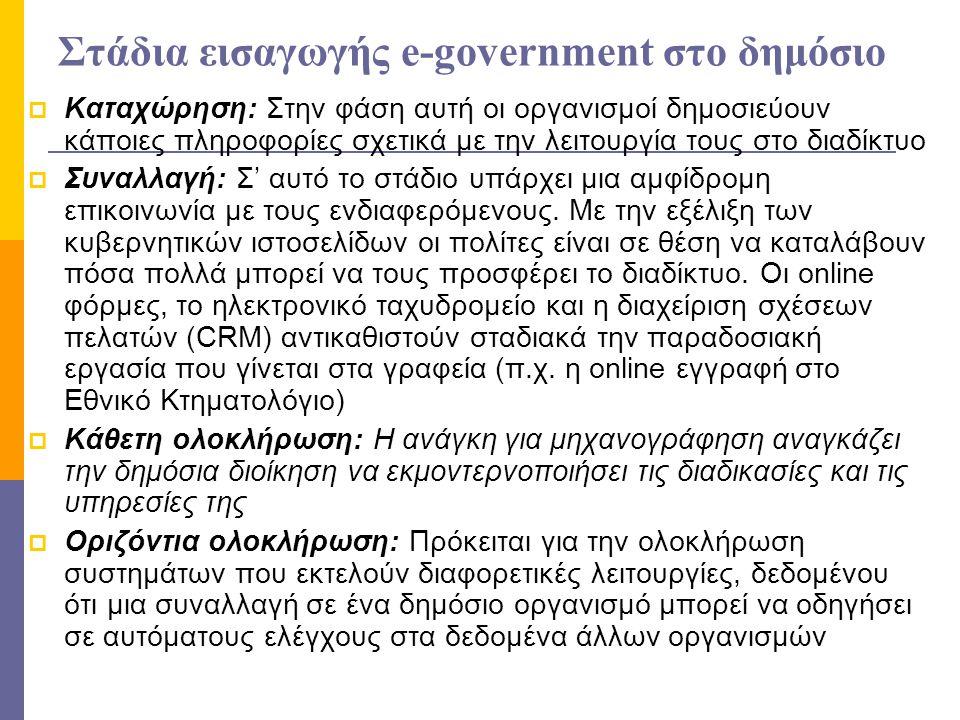 Στάδια εισαγωγής e-government στο δημόσιο  Καταχώρηση: Στην φάση αυτή οι οργανισμοί δημοσιεύουν κάποιες πληροφορίες σχετικά με την λειτουργία τους στ