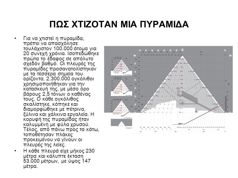 ΠΩΣ ΧΤΙΖΟΤΑΝ ΜΙΑ ΠΥΡΑΜΙΔΑ •Για να χτιστεί η πυραμίδα, πρέπει να απασχόλησε τουλάχιστον 100.000 άτομα για 20 συνεχή χρόνια. Ισοπεδώθηκε πρώτα το έδαφος