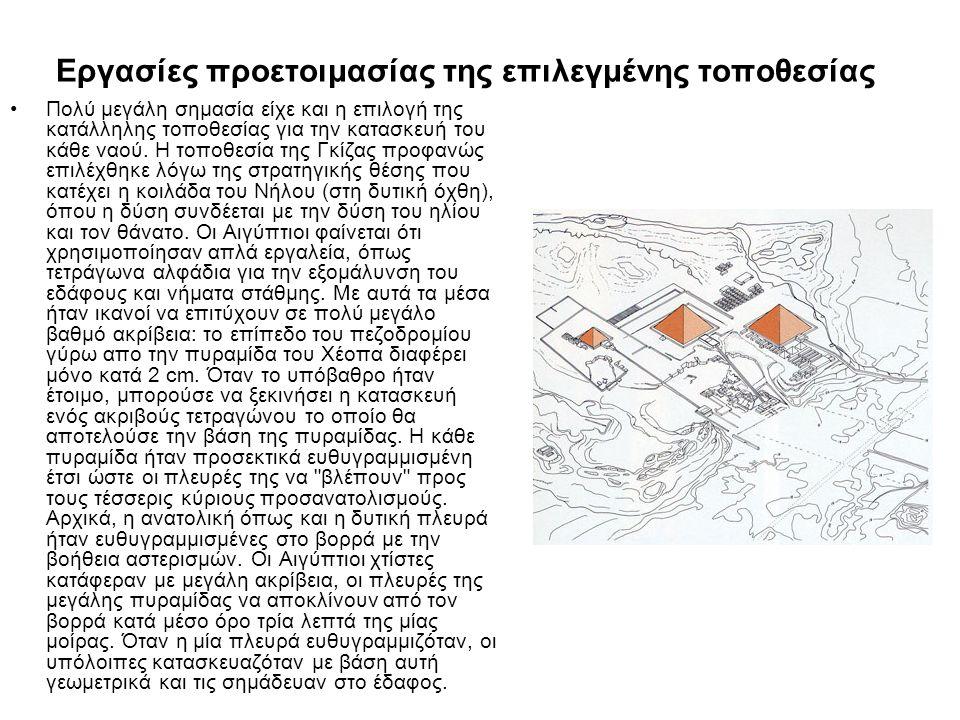 Επιλογή, μεταφορά ογκόλιθων και κατασκευή •Οι κατασκευαστές θεώρησαν ότι η ποιότητα του ασβεστόλιθου ήταν πολύ φτωχή για το περίβλημα των πυραμίδων και έτσι καλής ποιότητας ασβεστόλιθος βρέθηκε στα λατομεία στην απέναντι όχθη του ποταμού, στην Tura, σε ένα λιμάνι που βρισκόταν στην άκρη της τοποθεσίας.