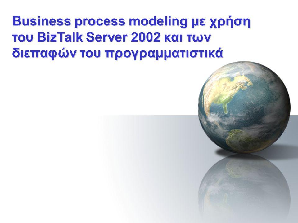Εκτέλεση σεναρίου Το σενάριο βασίζεται στην υλοποίηση μιας ASP λύσης Η παρακολούθηση της εκτέλεσης μπορεί να γίνει και απομακρυσμένα μέσω του API που διαθέτει ο BizTalk server Παράμετροι της εκτέλεσης του σεναρίου μπορούν επίσης να ελεγχθούν προγραμματιστικά και άρα απομακρυσμένα αν χρειαστεί Κοινοπραξία Εταιρεία Α Εφαρμογές BizTalk Server BizTalk Server Messaging Service Εταιρεία Β