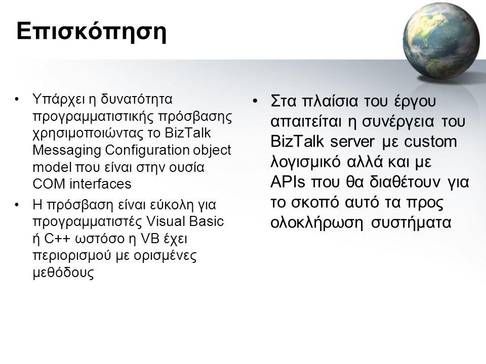 Επισκόπηση •Υπάρχει η δυνατότητα προγραμματιστικής πρόσβασης χρησιμοποιώντας το BizTalk Messaging Configuration object model που είναι στην ουσία COM interfaces •H πρόσβαση είναι εύκολη για προγραμματιστές Visual Basic ή C++ ωστόσο η VB έχει περιορισμού με ορισμένες μεθόδους •Στα πλαίσια του έργου απαιτείται η συνέργεια του BizTalk server με custom λογισμικό αλλά και με APIs που θα διαθέτουν για το σκοπό αυτό τα προς ολοκλήρωση συστήματα