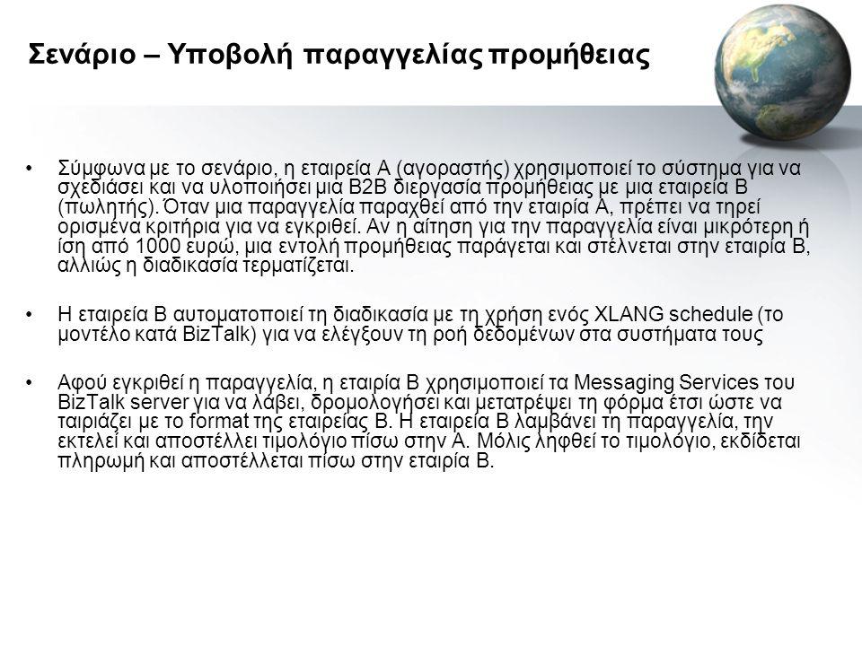 Σενάριο – Υποβολή παραγγελίας προμήθειας •Σύμφωνα με το σενάριο, η εταιρεία Α (αγοραστής) χρησιμοποιεί το σύστημα για να σχεδιάσει και να υλοποιήσει μια Β2Β διεργασία προμήθειας με μια εταιρεία Β (πωλητής).