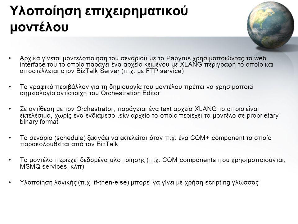 Υλοποίηση επιχειρηματικού μοντέλου •Αρχικά γίνεται μοντελοποίηση του σεναρίου με το Papyrus χρησιμοποιώντας το web interface του το οποίο παράγει ένα αρχείο κειμένου με XLANG περιγραφή το οποίο και αποστέλλεται στον BizTalk Server (π.χ.