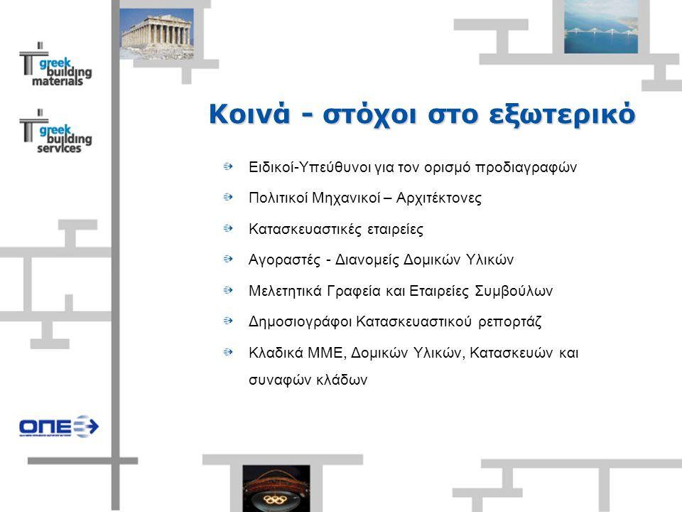 Κοινά - στόχοι στο εξωτερικό Ειδικοί-Υπεύθυνοι για τον ορισμό προδιαγραφών Πολιτικοί Μηχανικοί – Αρχιτέκτονες Κατασκευαστικές εταιρείες Αγοραστές - Διανομείς Δομικών Υλικών Μελετητικά Γραφεία και Εταιρείες Συμβούλων Δημοσιογράφοι Κατασκευαστικού ρεπορτάζ Κλαδικά ΜΜΕ, Δομικών Υλικών, Κατασκευών και συναφών κλάδων
