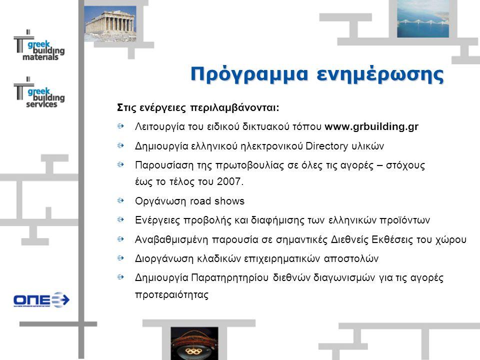 Πρόγραμμα ενημέρωσης Στις ενέργειες περιλαμβάνονται: Λειτουργία του ειδικού δικτυακού τόπου www.grbuilding.gr Δημιουργία ελληνικού ηλεκτρονικού Directory υλικών Παρουσίαση της πρωτοβουλίας σε όλες τις αγορές – στόχους έως το τέλος του 2007.