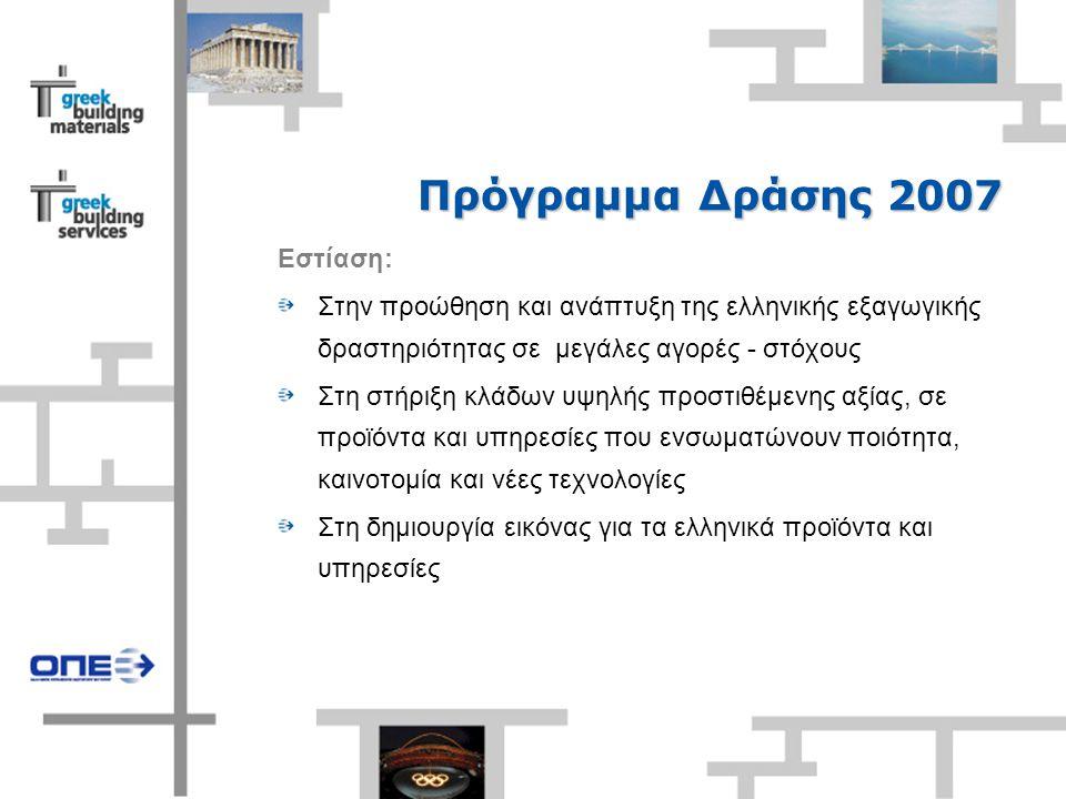 Πρόγραμμα Δράσης 2007 Εστίαση: Στην προώθηση και ανάπτυξη της ελληνικής εξαγωγικής δραστηριότητας σε μεγάλες αγορές - στόχους Στη στήριξη κλάδων υψηλής προστιθέμενης αξίας, σε προϊόντα και υπηρεσίες που ενσωματώνουν ποιότητα, καινοτομία και νέες τεχνολογίες Στη δημιουργία εικόνας για τα ελληνικά προϊόντα και υπηρεσίες