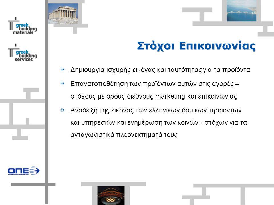 Στόχοι Επικοινωνίας Δημιουργία ισχυρής εικόνας και ταυτότητας για τα προϊόντα Επανατοποθέτηση των προϊόντων αυτών στις αγορές – στόχους με όρους διεθνούς marketing και επικοινωνίας Ανάδειξη της εικόνας των ελληνικών δομικών προϊόντων και υπηρεσιών και ενημέρωση των κοινών - στόχων για τα ανταγωνιστικά πλεονεκτήματά τους