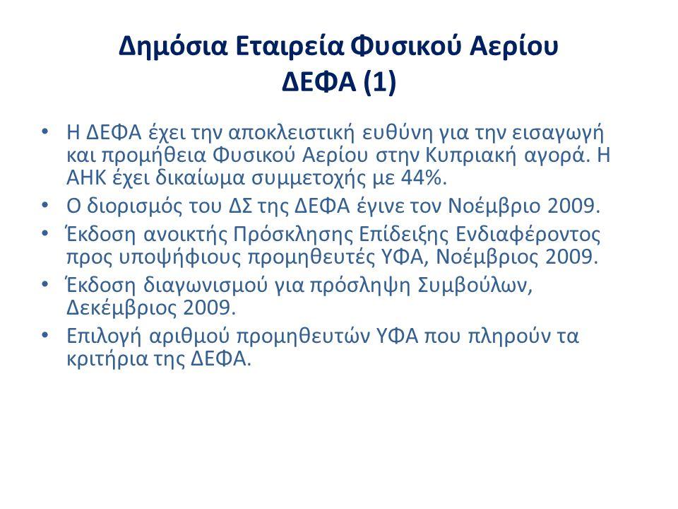 Δημόσια Εταιρεία Φυσικού Αερίου ΔΕΦΑ (1) • Η ΔΕΦΑ έχει την αποκλειστική ευθύνη για την εισαγωγή και προμήθεια Φυσικού Αερίου στην Κυπριακή αγορά. Η ΑΗ