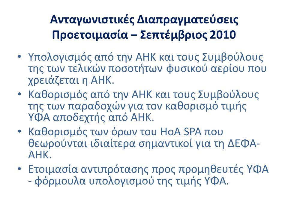 Ανταγωνιστικές Διαπραγματεύσεις Προετοιμασία – Σεπτέμβριος 2010 • Υπολογισμός από την ΑΗΚ και τους Συμβούλους της των τελικών ποσοτήτων φυσικού αερίου