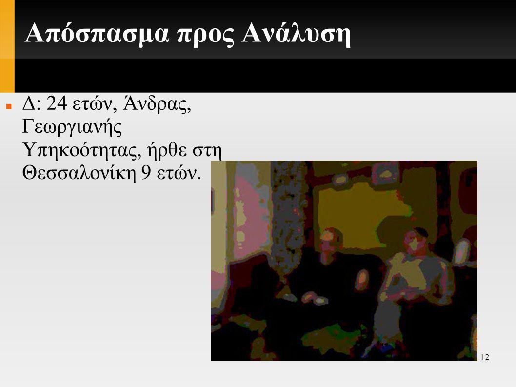 12 Απόσπασμα προς Ανάλυση  Δ: 24 ετών, Άνδρας, Γεωργιανής Υπηκοότητας, ήρθε στη Θεσσαλονίκη 9 ετών.