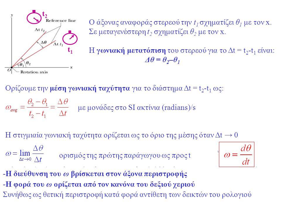 t1t1 t2t2 Ο άξονας αναφοράς στερεού την t 1 σχηματίζει θ 1 με τον x. Σε μεταγενέστερη t 2 σχηματίζει θ 2 με τον x. Η γωνιακή μετατόπιση του στερεού γι
