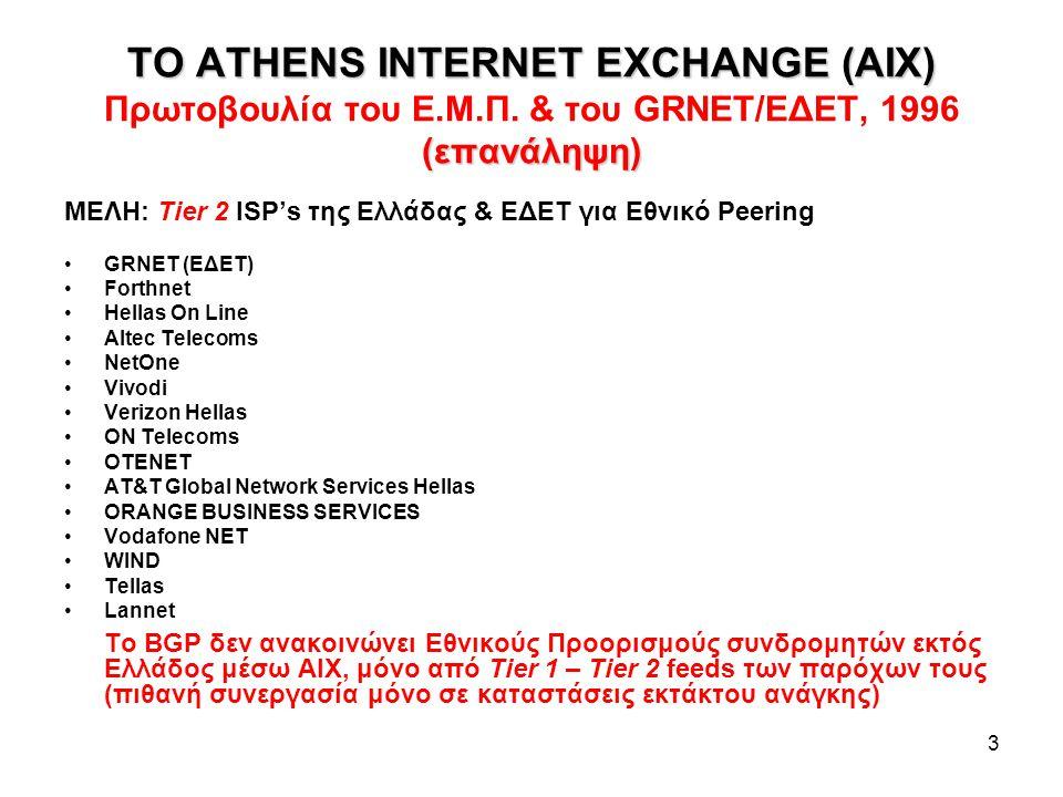 GREEK INTERNET EXCHANGE (GR-IX) (επανάληψη) 4 ΑΝΑΒΑΘΜΙΣΗ ΤΟΥ ΑΙΧ, 2009 • Zero-cost Gigabit peering • Ουδέτερο σημείο στέγασης: GRNET Point of Presence – PoP @ Εθνικό Ίδρυμα Ερευνών • Μέλη: