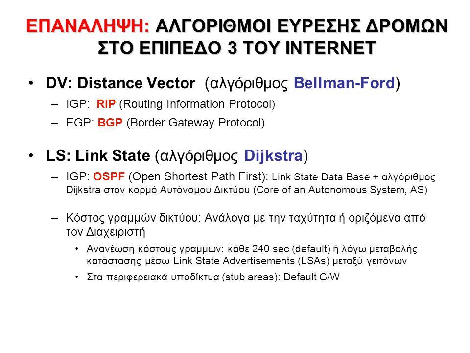 ΑΛΓΟΡΙΘΜΟΙ DISTANCE VECTOR ΑΛΓΟΡΙΘΜΟΙ DISTANCE VECTOR IGP RIP - BGP •Κάθε κόμβος υπολογίζει την επόμενη «βέλτιστη» στάση προς όλες τις κατευθύνσεις, σύμφωνα με την εικόνα που έχει τοπικά (πραγματικά κατανεμημένος αλγόριθμος) •Χρειάζεται γνώση του «κόστους» των άμεσων συνδέσεων (interfaces) και το εκτιμώμενο «κόστος» από τους άμεσους γείτονες προς όλους τους προορισμούς (π.χ.