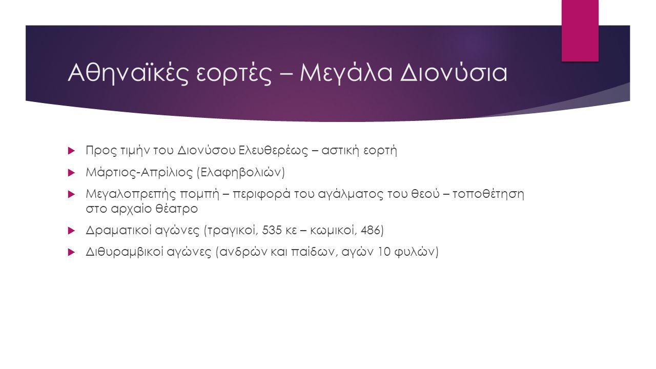 Αθηναϊκές εορτές – Μεγάλα Διονύσια  Προς τιμήν του Διονύσου Ελευθερέως – αστική εορτή  Μάρτιος-Απρίλιος (Ελαφηβολιών)  Μεγαλοπρεπής πομπή – περιφορά του αγάλματος του θεού – τοποθέτηση στο αρχαίο θέατρο  Δραματικοί αγώνες (τραγικοί, 535 κε – κωμικοί, 486)  Διθυραμβικοί αγώνες (ανδρών και παίδων, αγών 10 φυλών)