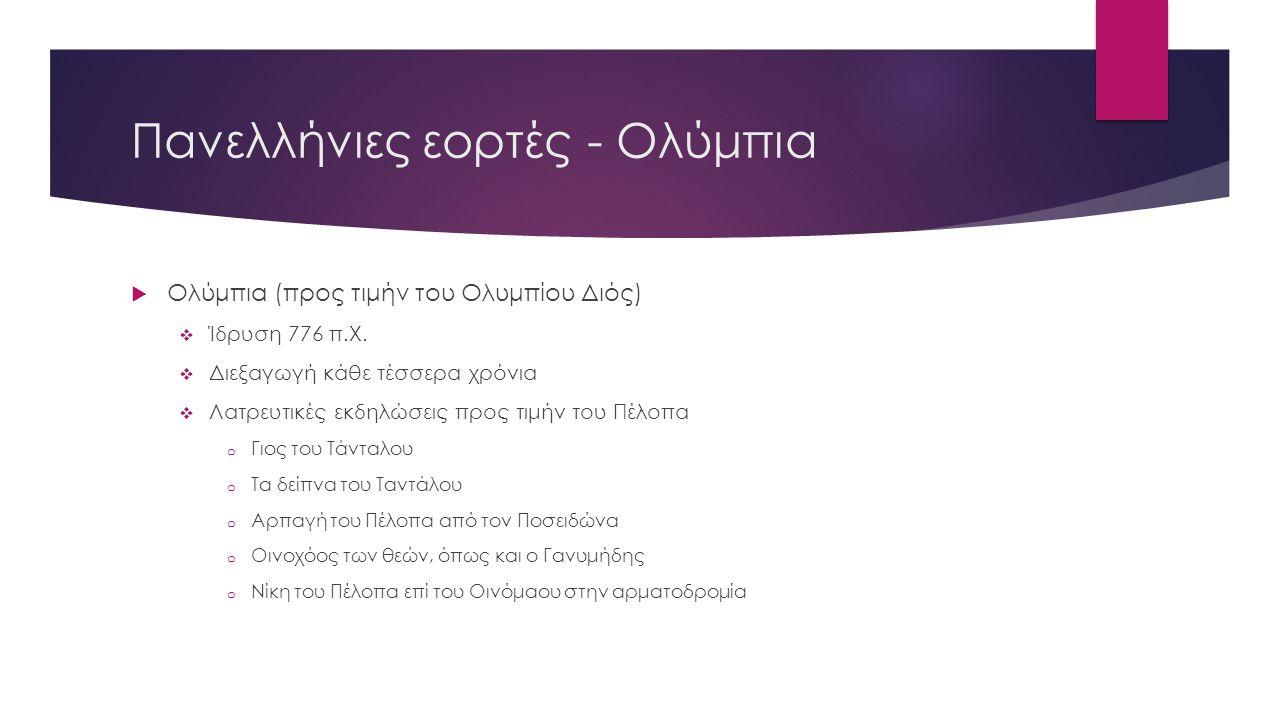 Πανελλήνιες εορτές - Ολύμπια  Ολύμπια (προς τιμήν του Ολυμπίου Διός)  Ίδρυση 776 π.Χ.