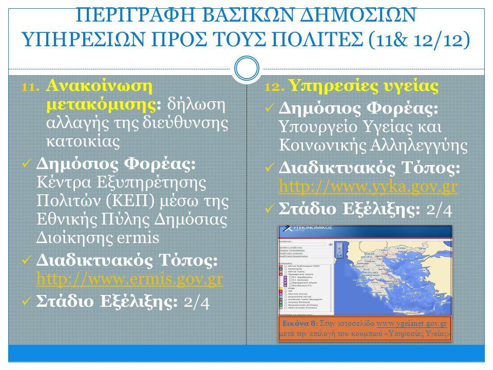 ΠΕΡΙΓΡΑΦΗ ΒΑΣΙΚΩΝ ΔΗΜΟΣΙΩΝ ΥΠΗΡΕΣΙΩΝ ΠΡΟΣ ΤΟΥΣ ΠΟΛΙΤΕΣ (11& 12/12) 11. Ανακοίνωση μετακόμισης: δήλωση αλλαγής της διεύθυνσης κατοικίας  Δημόσιος Φορέ