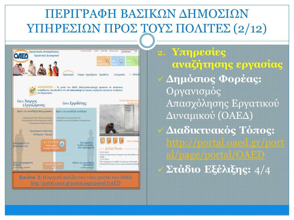 2. Υπηρεσίες αναζήτησης εργασίας  Δημόσιος Φορέας: Οργανισμός Απασχόλησης Εργατικού Δυναμικού (ΟΑΕΔ)  Διαδικτυακός Τόπος: http://portal.oaed.gr/port