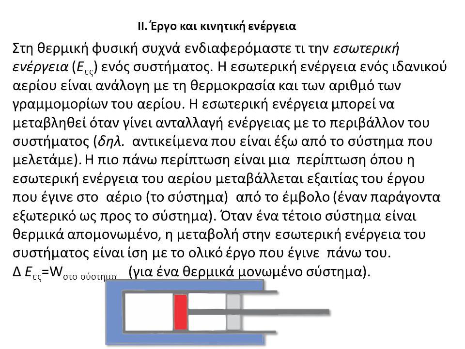 ΙΙ. Έργο και κινητική ενέργεια Α. Να φανταστείς ότι ο κύλινδρος από το το τμήμα Ι είναι θερμικά μονωμένος από το περιβάλλον με το να τοποθετηθεί μέσα