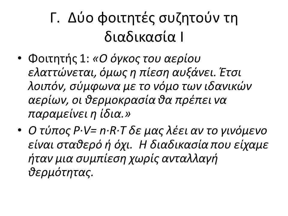 Γ. Δύο φοιτητές συζητούν τη διαδικασία Ι • Φοιτητής 1: «Ο όγκος του αερίου ελαττώνεται, όμως η πίεση αυξάνει. Έτσι λοιπόν, σύμφωνα με το νόμο των ιδαν