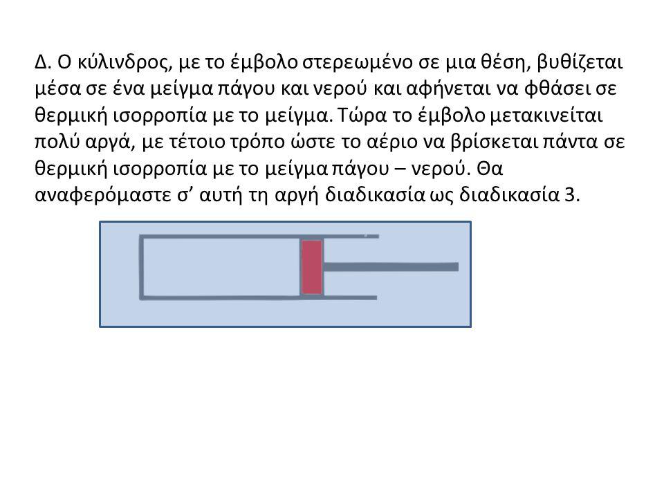 Γ. Στη διαδικασία 2 (τμήμα ΙΙΙ) δεν χρειάστηκε να θεωρήσεις το έργο. Ποιο χαρακτηριστικό του πειράματος εμπόδιζε να γίνει έργο πάνω στο αέριο; Το έμβο