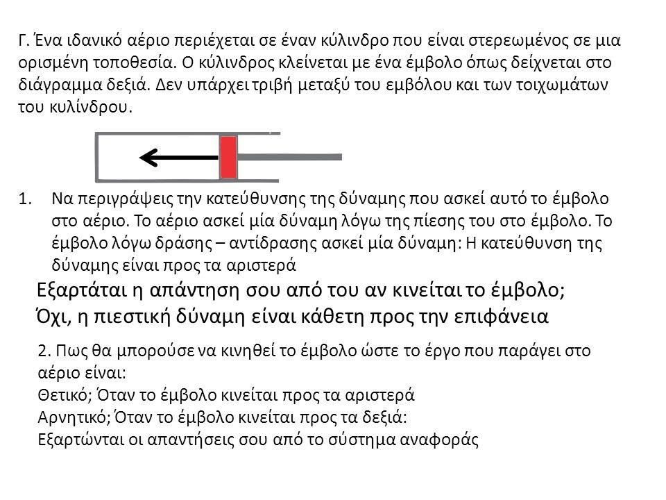 Δώσε ένα σκίτσο της διαδικασίας 2 στο διάγραμμα PV δεξιά Γίνεται κάποιο έργο στο αέριο στη διαδικασία 2; Εξήγησε.
