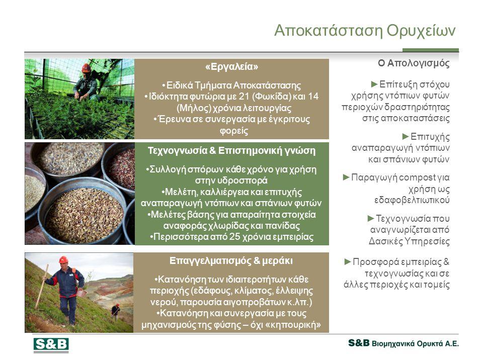 Αποκατάσταση Ορυχείων «Εργαλεία» •Ειδικά Τμήματα Αποκατάστασης •Ιδιόκτητα φυτώρια με 21 (Φωκίδα) και 14 (Μήλος) χρόνια λειτουργίας •Έρευνα σε συνεργασία με έγκριτους φορείς Τεχνογνωσία & Επιστημονική γνώση •Συλλογή σπόρων κάθε χρόνο για χρήση στην υδροσπορά •Μελέτη, καλλιέργεια και επιτυχής αναπαραγωγή ντόπιων και σπάνιων φυτών •Μελέτες βάσης για απαραίτητα στοιχεία αναφοράς χλωρίδας και πανίδας •Περισσότερα από 25 χρόνια εμπειρίας Επαγγελματισμός & μεράκι •Κατανόηση των ιδιαιτεροτήτων κάθε περιοχής (εδάφους, κλίματος, έλλειψης νερού, παρουσία αιγοπροβάτων κ.λπ.) •Κατανόηση και συνεργασία με τους μηχανισμούς της φύσης – όχι «κηπουρική» Ο Απολογισμός ►Επίτευξη στόχου χρήσης ντόπιων φυτών περιοχών δραστηριότητας στις αποκαταστάσεις ►Επιτυχής αναπαραγωγή ντόπιων και σπάνιων φυτών ►Παραγωγή compost για χρήση ως εδαφοβελτιωτικού ►Τεχνογνωσία που αναγνωρίζεται από Δασικές Υπηρεσίες ►Προσφορά εμπειρίας & τεχνογνωσίας και σε άλλες περιοχές και τομείς