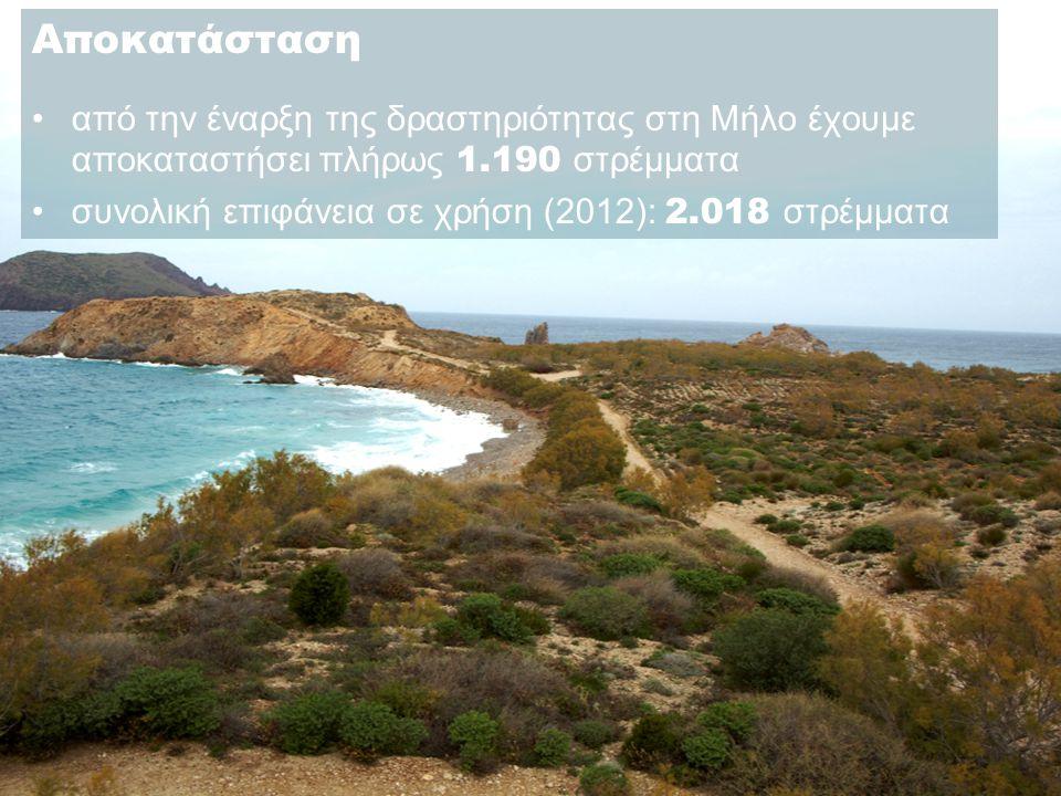 Αποκατάσταση •από την έναρξη της δραστηριότητας στη Μήλο έχουμε αποκαταστήσει πλήρως 1.190 στρέμματα •συνολική επιφάνεια σε χρήση (2012): 2.018 στρέμματα