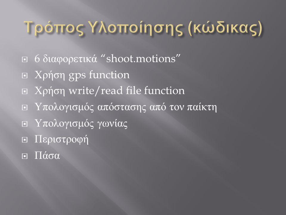  6 διαφορετικά shoot.motions  Χρήση gps function  Χρήση write/read file function  Υπολογισμός απόστασης από τον παίκτη  Υπολογισμός γωνίας  Περιστροφή  Πάσα