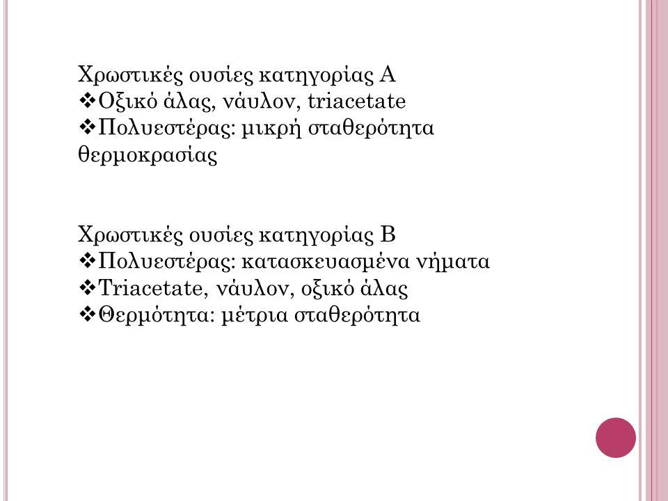 Χρωστικές ουσίες κατηγορίας Α  Οξικό άλας, νάυλον, triacetate  Πολυεστέρας: μικρή σταθερότητα θερμοκρασίας Χρωστικές ουσίες κατηγορίας Β  Πολυεστέρας: κατασκευασμένα νήματα  Triacetate, νάυλον, οξικό άλας  Θερμότητα: μέτρια σταθερότητα