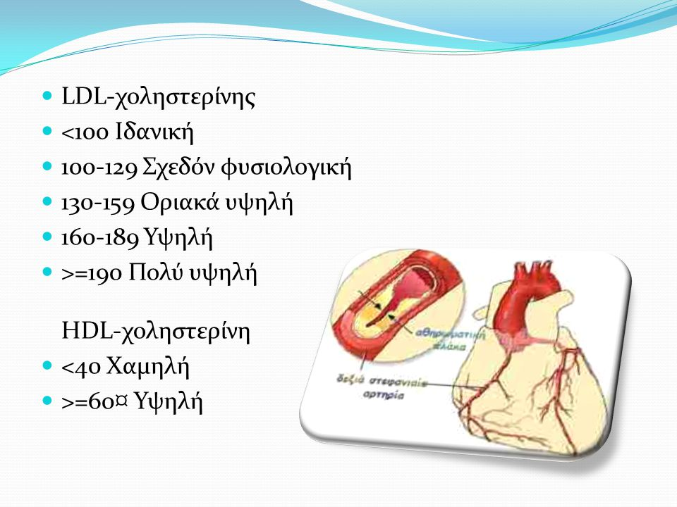  LDL-χοληστερίνης  <100 Ιδανική  100-129 Σχεδόν φυσιολογική  130-159 Οριακά υψηλή  160-189 Υψηλή  >=190 Πολύ υψηλή HDL-χοληστερίνη  <40 Χαμηλή