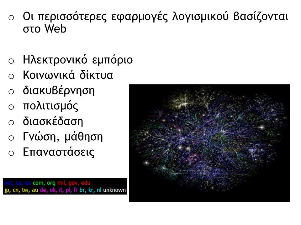 o Οι περισσότερες εφαρμογές λογισμικού βασίζονται στο Web o Ηλεκτρονικό εμπόριο o Κοινωνικά δίκτυα o διακυβέρνηση o πολιτισμός o διασκέδαση o Γνώση, μ