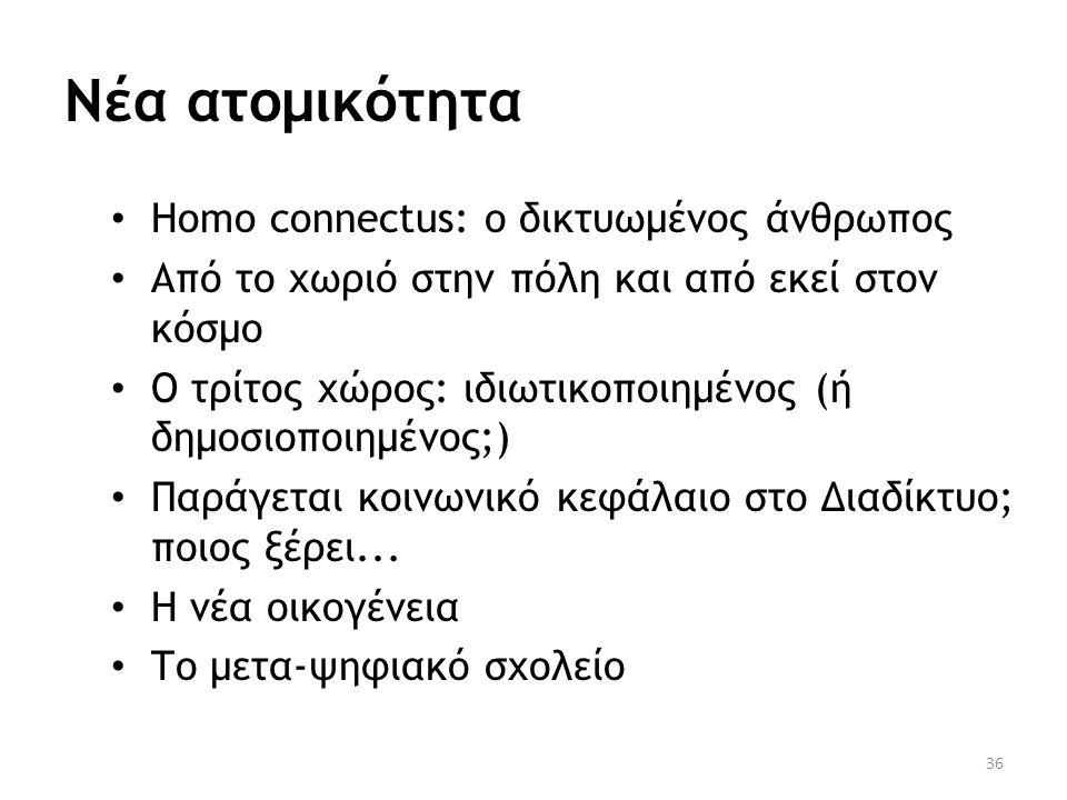 Νέα ατομικότητα • Homo connectus: ο δικτυωμένος άνθρωπος • Από το χωριό στην πόλη και από εκεί στον κόσμο • Ο τρίτος χώρος: ιδιωτικοποιημένος (ή δημοσ