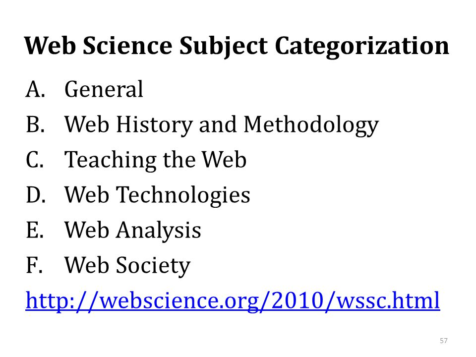 Web Science Subject Categorization A.General B.Web History and Methodology C.Teaching the Web D.Web Technologies E.Web Analysis F.Web Society http://w