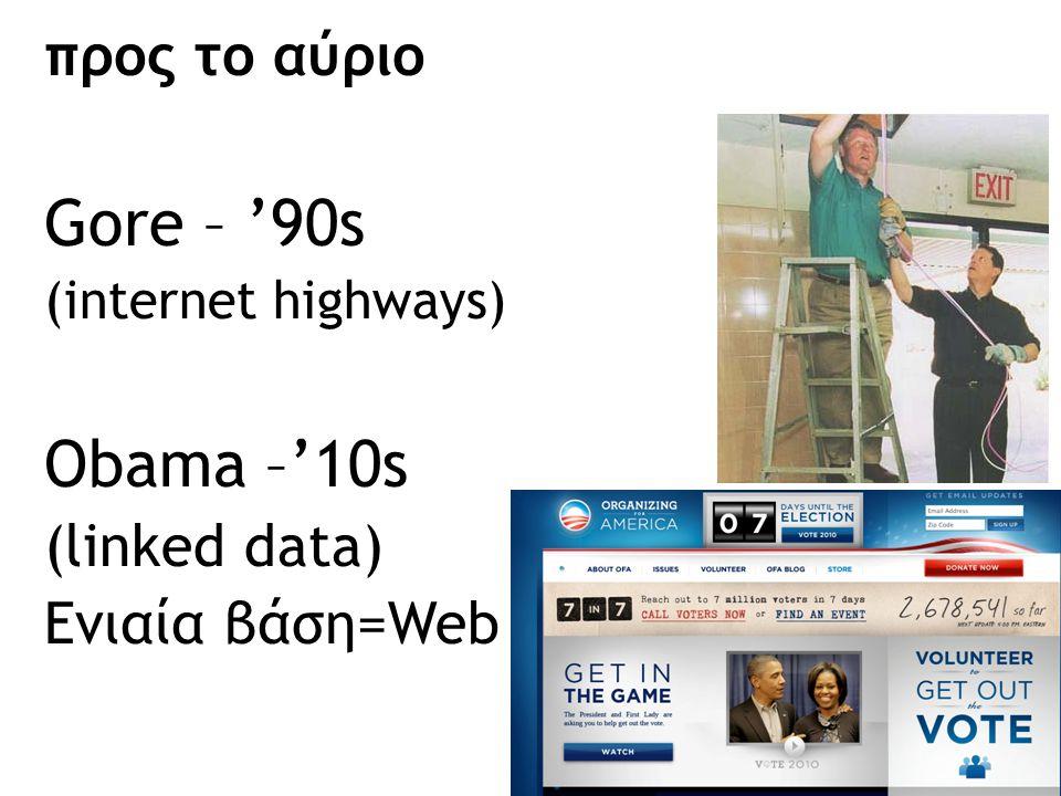 προς το αύριο Gore – '90s (internet highways) Obama –'10s (linked data) Ενιαία βάση=Web 63
