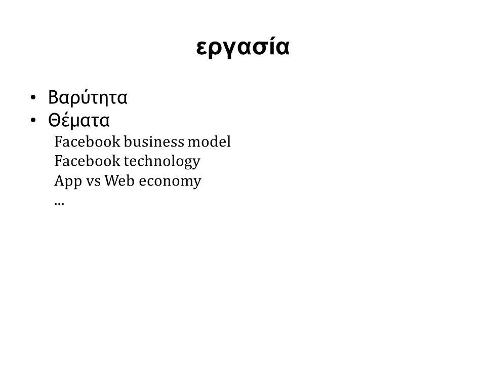 εργασία • Βαρύτητα • Θέματα Facebook business model Facebook technology App vs Web economy...