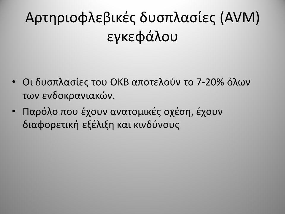 • Οι δυσπλασίες του ΟΚΒ αποτελούν το 7-20% όλων των ενδοκρανιακών. • Παρόλο που έχουν ανατομικές σχέση, έχουν διαφορετική εξέλιξη και κινδύνους Αρτηρι
