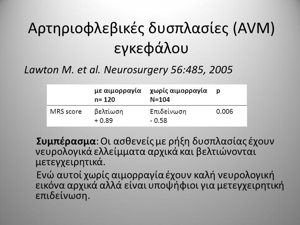 Αρτηριοφλεβικές δυσπλασίες (AVM) εγκεφάλου Lawton M. et al. Neurosurgery 56:485, 2005 Συμπέρασμα: Οι ασθενείς με ρήξη δυσπλασίας έχουν νευρολογικά ελλ