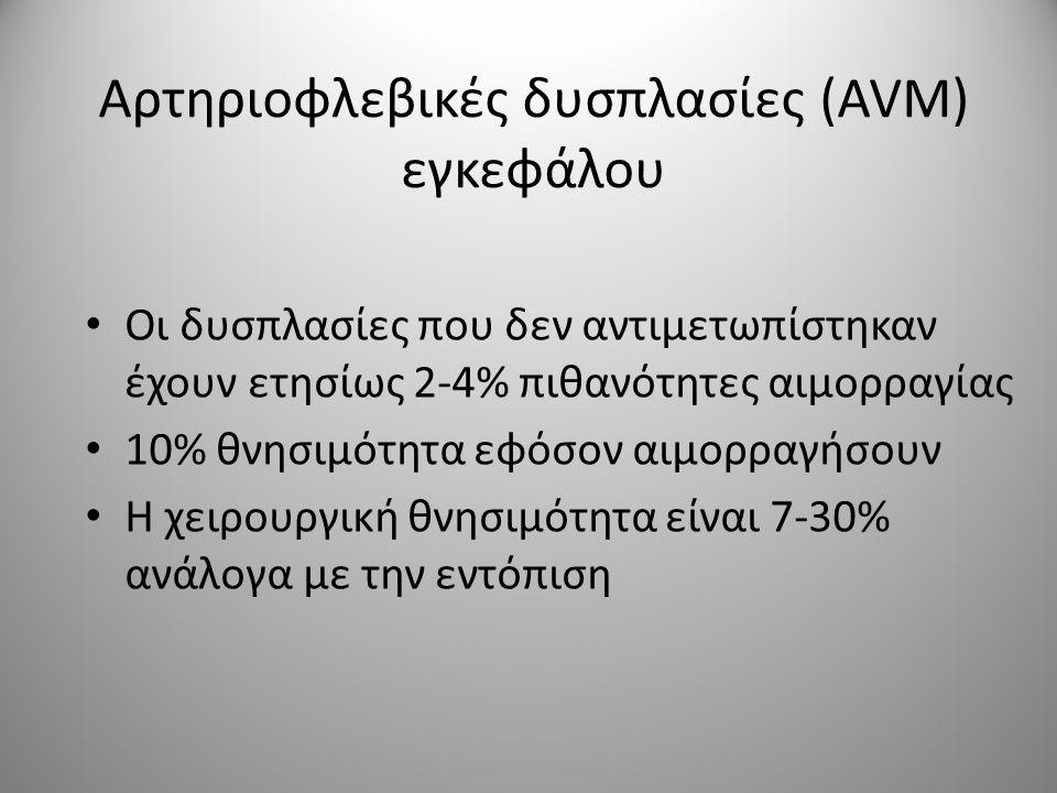 Αρτηριοφλεβικές δυσπλασίες (AVM) εγκεφάλου • Οι δυσπλασίες που δεν αντιμετωπίστηκαν έχουν ετησίως 2-4% πιθανότητες αιμορραγίας • 10% θνησιμότητα εφόσο