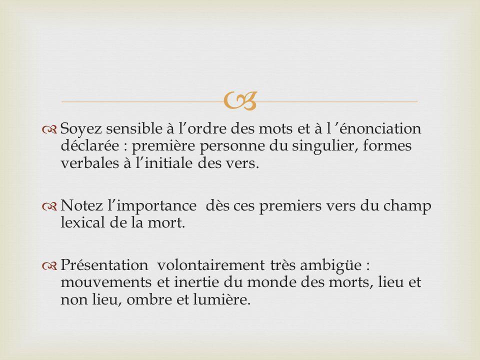   Soyez sensible à l'ordre des mots et à l 'énonciation déclarée : première personne du singulier, formes verbales à l'initiale des vers.