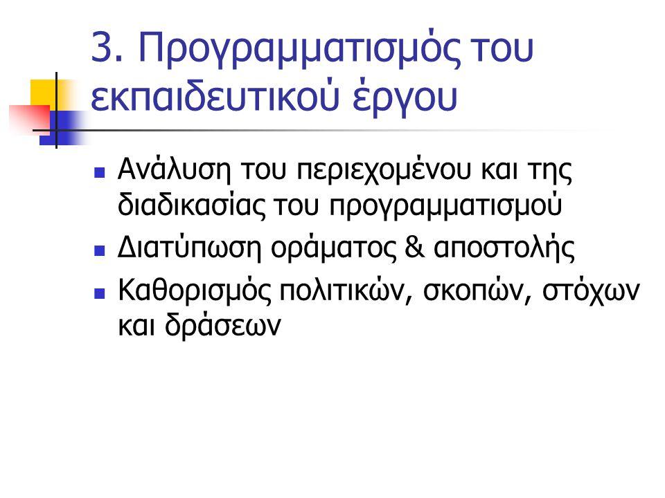 3. Προγραμματισμός του εκπαιδευτικού έργου  Ανάλυση του περιεχομένου και της διαδικασίας του προγραμματισμού  Διατύπωση οράματος & αποστολής  Καθορ