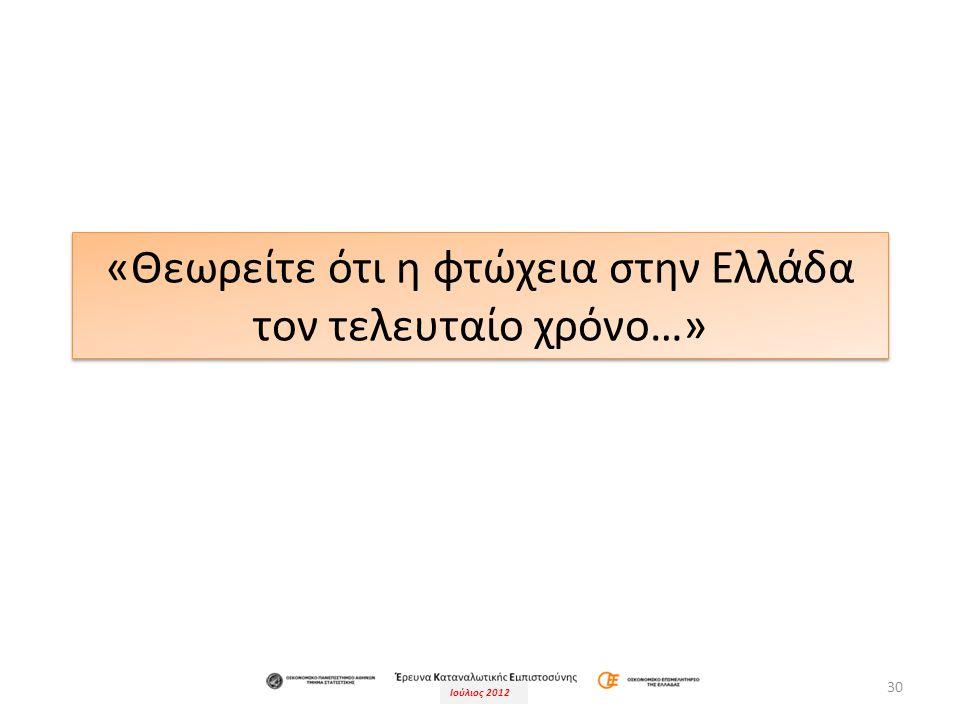Ιούλιος 2012 30 «Θεωρείτε ότι η φτώχεια στην Ελλάδα τον τελευταίο χρόνο…»