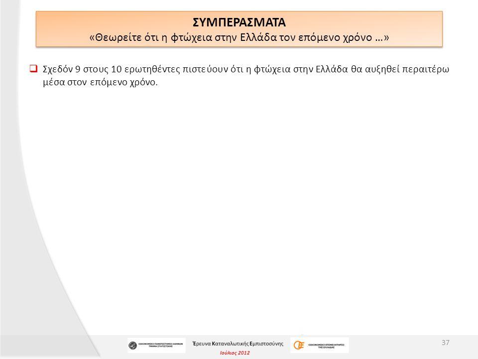 Ιούλιος 2012 ΣΥΜΠΕΡΑΣΜΑΤΑ «Θεωρείτε ότι η φτώχεια στην Ελλάδα τον επόμενο χρόνο …» 37  Σχεδόν 9 στους 10 ερωτηθέντες πιστεύουν ότι η φτώχεια στην Ελλ