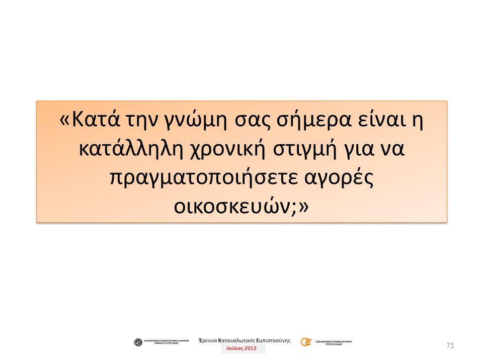 Ιούλιος 2012 71 «Κατά την γνώμη σας σήμερα είναι η κατάλληλη χρονική στιγμή για να πραγματοποιήσετε αγορές οικοσκευών;»