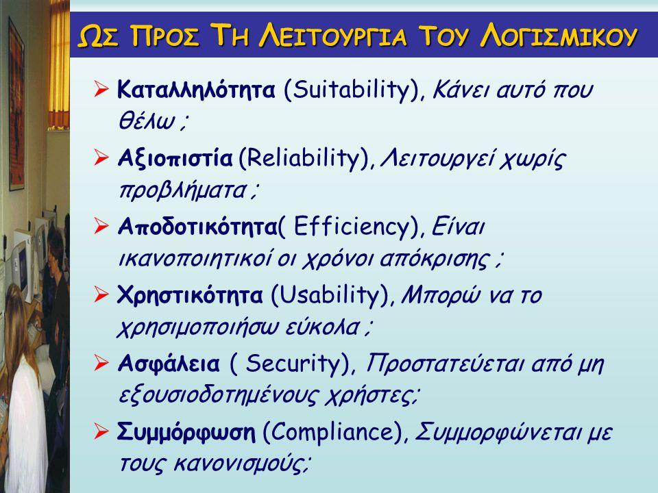 Ω Σ Π ΡΟΣ Τ Η Λ ΕΙΤΟΥΡΓΙΑ Τ ΟΥ Λ ΟΓΙΣΜΙΚΟΥ  Καταλληλότητα (Suitability), Κάνει αυτό που θέλω ;  Αξιοπιστία (Reliability), Λειτουργεί χωρίς προβλήματα ;  Αποδοτικότητα( Εfficiency), Είναι ικανοποιητικοί οι χρόνοι απόκρισης ;  Χρηστικότητα (Usability), Μπορώ να το χρησιμοποιήσω εύκολα ;  Ασφάλεια ( Security), Προστατεύεται από μη εξουσιοδοτημένους χρήστες;  Συμμόρφωση (Compliance), Συμμορφώνεται με τους κανονισμούς;