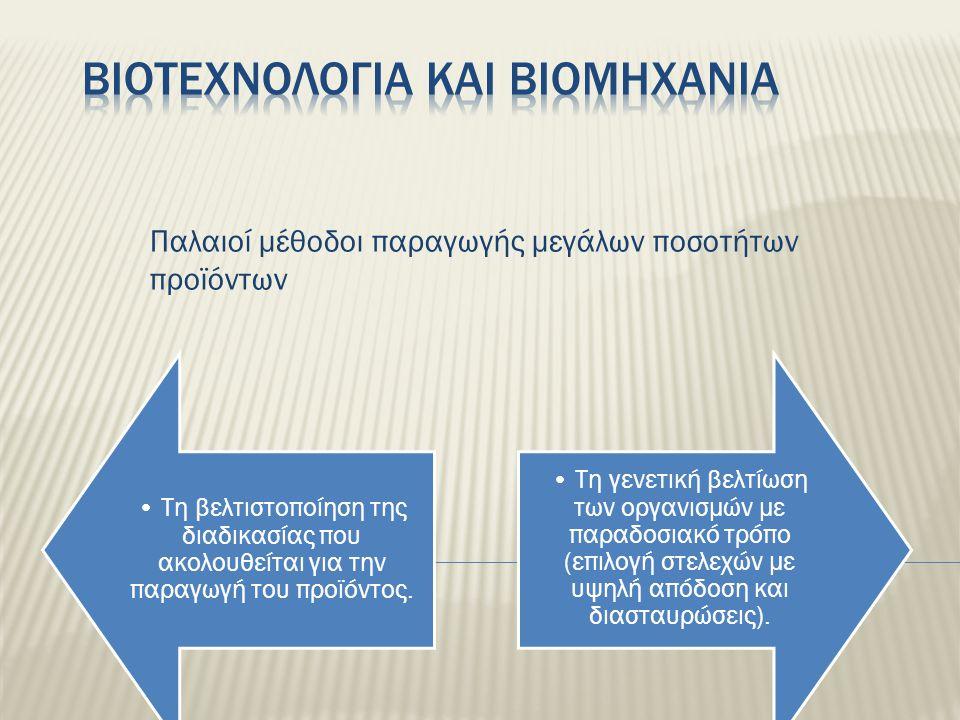 Παλαιοί μέθοδοι παραγωγής μεγάλων ποσοτήτων προϊόντων • Τη βελτιστοποίηση της διαδικασίας που ακολουθείται για την παραγωγή του προϊόντος. • Τη γενετι